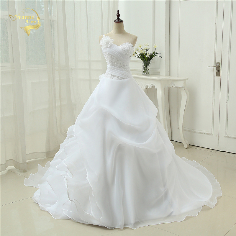 Vestido De Noiva A line One Shoulder Bridal Applique Lace Organza Robe De Mariage Vintage Wedding Dresses 2019 OW4042 Plus Size