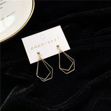 2020 New Korean Gold Vintage Earrings For Women Metal Big Geometric Earrings Simple Hanging Dangle Earrings Fashion Jewelry 2020 new korean vintage earrings for women geometric triangle earrings simple gold girl earrings fashion jewelry