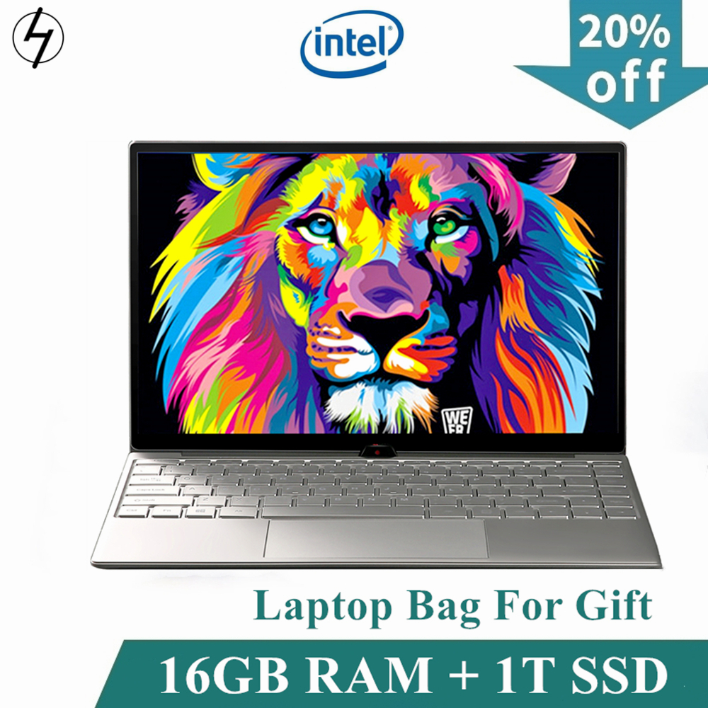 LHMZNIY Laptop 14.1 inch Windows10 Notebook 16GB RAM 1T SSD HD screen intel 1.8GHz WIFI Camera slim Student laptop Office game image
