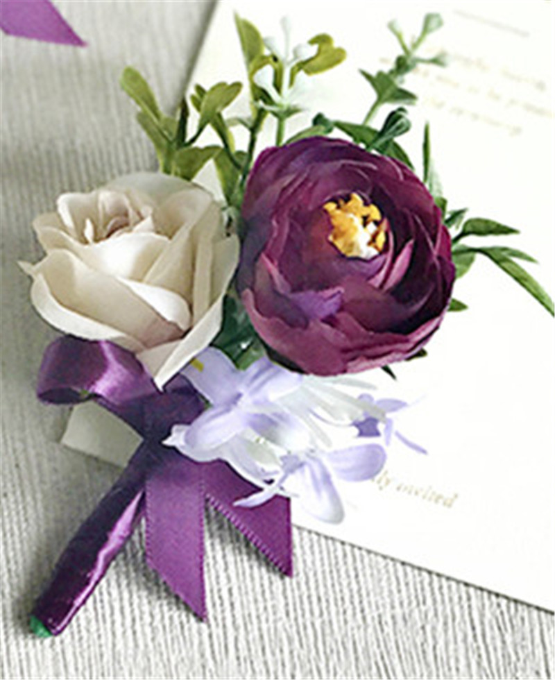 YO CHO Purple Wedding Bracelet Groom Boutonniere Wedding Corsage And Women Brooch Flore Wedding Marriage Corsage Bracelet Flower