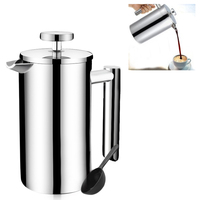 350/700/1000ml Coffee Maker Kettle Manual Cafe Home Kitchen Percolator Double Layer French Stainless Steel Press Handheld Office