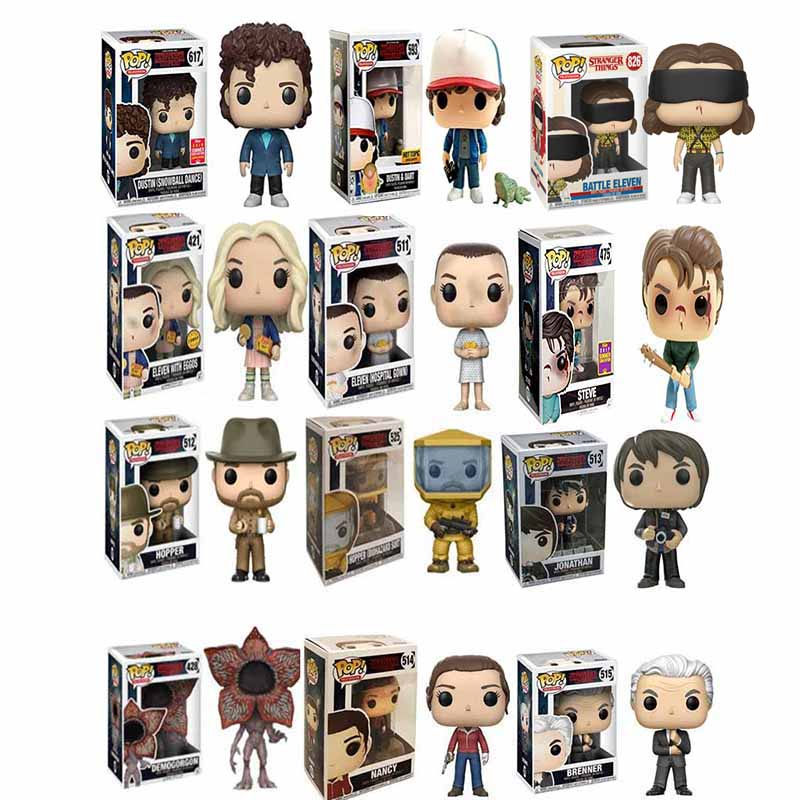 Funko Pop Stranger Things Eleven Demogorgon Hopper Jonathan Nancy Brenner Joyce Action Figures Collectible Model Toys With Box