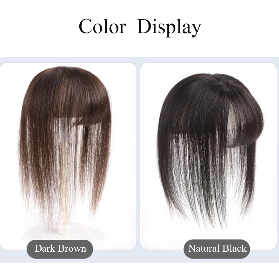 Brazil Real Human Hair Women Toupee With Bangs Straight Hair Material Hair Hand-made Topper Hair Hair Clip Ins Non-remy Hair
