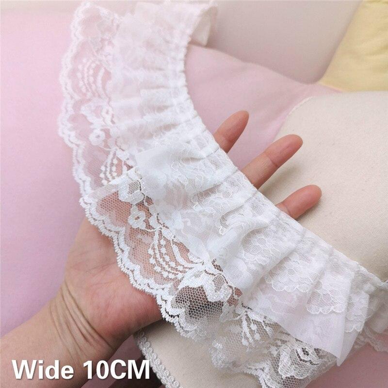 10CM Breit Zarte Drei Schichten Weiß 3d Spitze Gefaltetes Chiffon Stoff Kleid Guipure Rüschen Trim Fringe Band DIY Nähen liefert