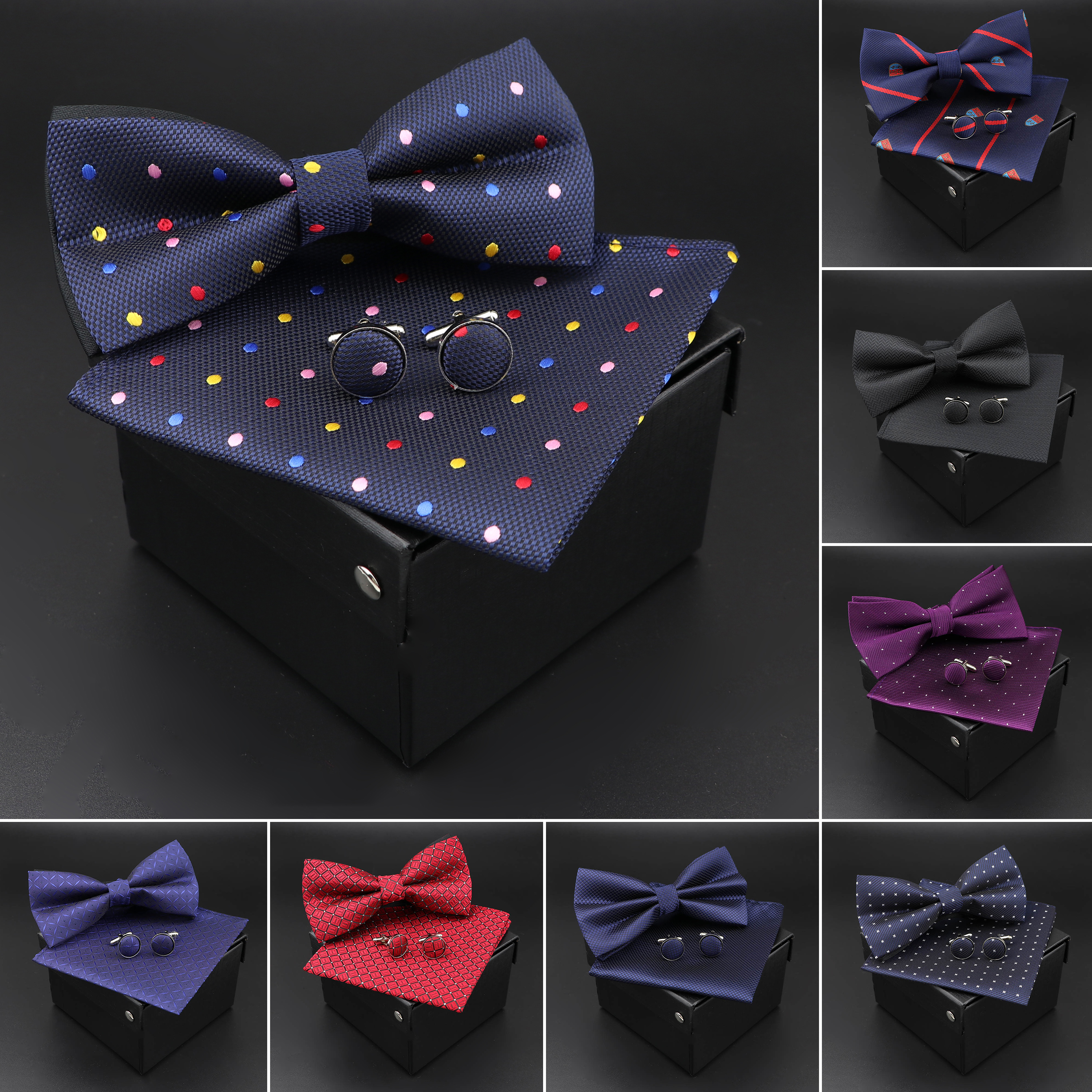 Solid Polyester Dots Bowtie Handkerchief Cufflinks Set Men Fashion Butterfly Party Wedding Bowties Without Box Novelty Ties Gift