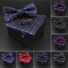 Effen Polyester Dots Bowtie Zakdoek Manchetknopen Set Mannen Mode Vlinder Party Bruiloft Strikjes Zonder Doos Novelty Ties Gift(China)