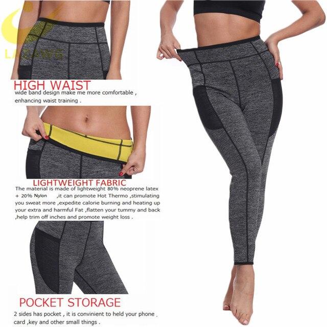 LAZAWG Women Waist Trainer Belts Suits Weight Loss Hot Neoprene Sauna Sweat Pants Workout Sets Capris Leggings Body Shaper 3