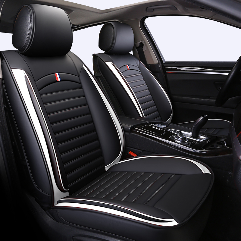 Front+Rear Leather Universal auto <font><b>seat</b></font> <font><b>covers</b></font> For <font><b>Peugeot</b></font> <font><b>301</b></font> 306 307 308 405 406 407 408 of 2018 2017 2016 2015 image