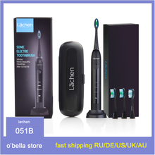 lachen 051B Ultrasonic Sonic Electric Toothbrush EU Rechargeable Tooth Brushes With 4 Pcs DuPont Replacement Time Brush Heads