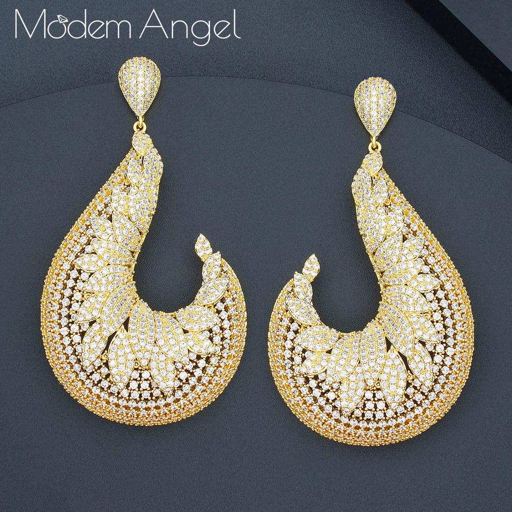 ModemAngel luxe exclusif lune géométrique AAA cubique zircone mariage africain femmes robe boucle d'oreille bijoux de mode