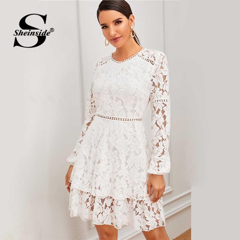 Sheinside белые контрастные кружевные вечерние платья Для женщин 2019 осень прозрачный на шнуровке и застежке-молнии сзади Мини-платья женские многослойное кружевное платье