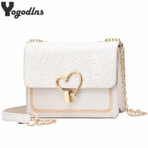 Trendy Sequin Pu Leather Female Bag with Metal Love Shape Lock Girls Chain Messenger Shoulder Bag Small Flap Purse New Arrival