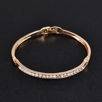 Fashion Gold Stainless Steel White Rhinestone Crystal Bracelet Women Wedding Party Cuff Bangle Bracelet Jewelry