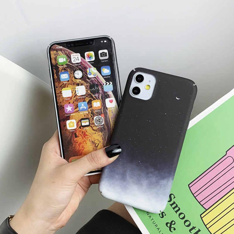 Lovebay Bulan Bintang Case untuk iPhone 11 Pro Max 7 8 6 6 S Plus X XR X Plastik Max shell Ponsel Kasus Langit Berbintang Hard Pc Back Cover