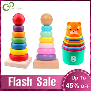 Toddler Toy Tower Stacking Blocks Wood Plastic Stapelring Baby Folding Cup GYH Infant