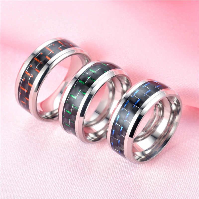 2019 nouveau bleu chaud rouge vert Fiber de carbone Dragon anneau de mode titane en acier inoxydable anneaux pour femmes hommes bijoux de fête