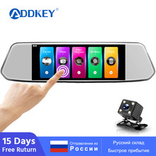 ADDKEY 7 Inch Touch Screen Car DVR Dual Lens Camera Rearview Mirror Video Recorder Dash Cam Auto Camera Full HD 1080P car dvrs(China)
