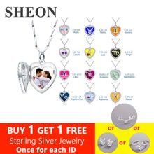 SHEON 925 Silver Necklace Twelve constellations& Birthstone Heart Photo Locket Personalized Engraved Photo Jewelry For your Love chic engraved floral locket necklace