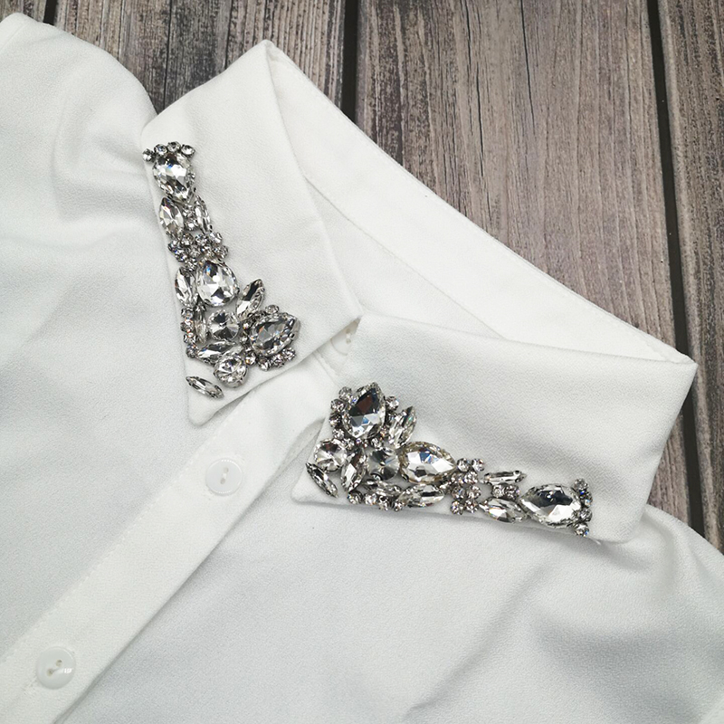 Korean High grade Crystal Diamonds Women Fake Collar Chiffon Shirt Removable Peto Mujer Chemisier Daily Faux Cols China Garment