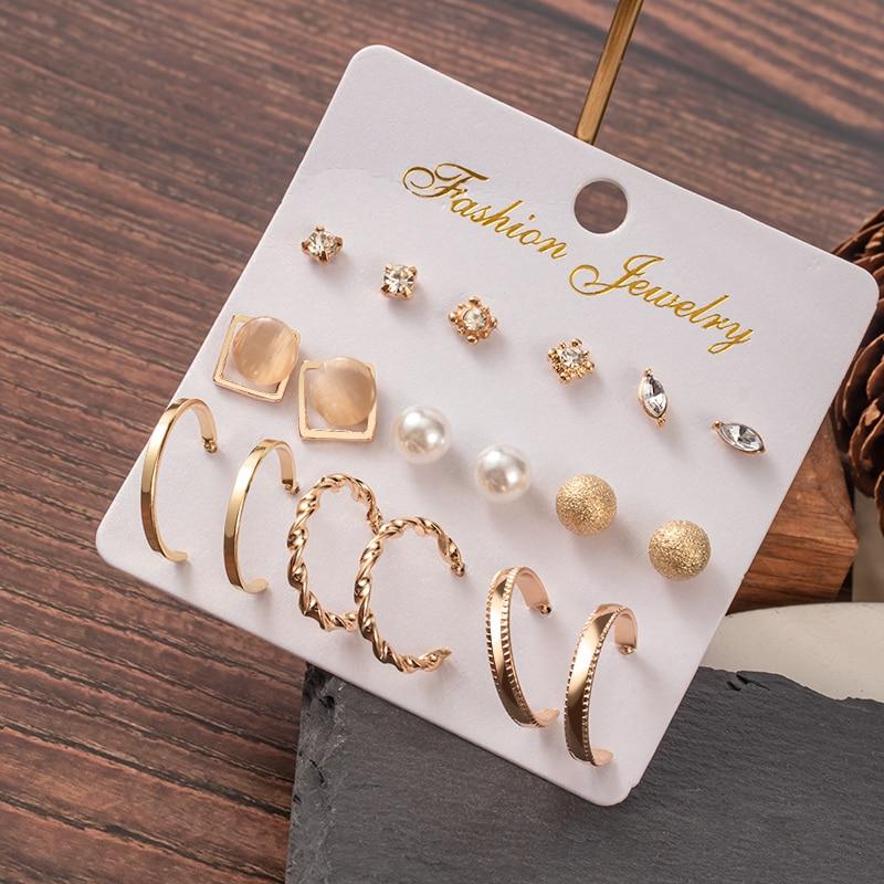 Hot Sale Fashion Bohemian Earrings Set For Women New Trendy Flower Round Geometric Metal