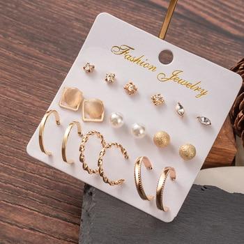 Hot Sale Fashion Bohemian Earrings Set For Women New Trendy Flower Round Geometric Metal Stud Earring 2020 Trend Female Jewelry