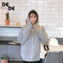 Hoodie female 2019 brand long sleeve solid color hooded sweatshirt sportswear sweat