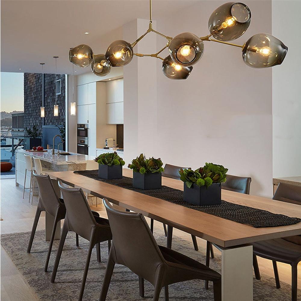 Lustres en verre nordiques lumières lustre moderne nordique lumière lampe pendante en or pour salon salle à manger Loft 90 ~ 260V