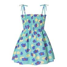 Kid Dress for Girl 2021 Summer Smocked Dress, Cute Sleeveless Polka Dots Floral Print A-line Dress