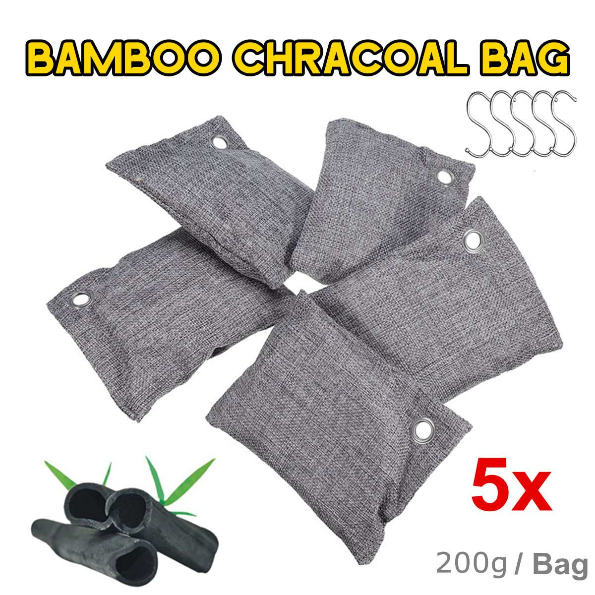 5 Bag/Set Air Purifier Bag Car Home Bamboo Charcoal Dehumidifier Odor Remover Air Purifying Bag Natural Air Freshener Bags 500g