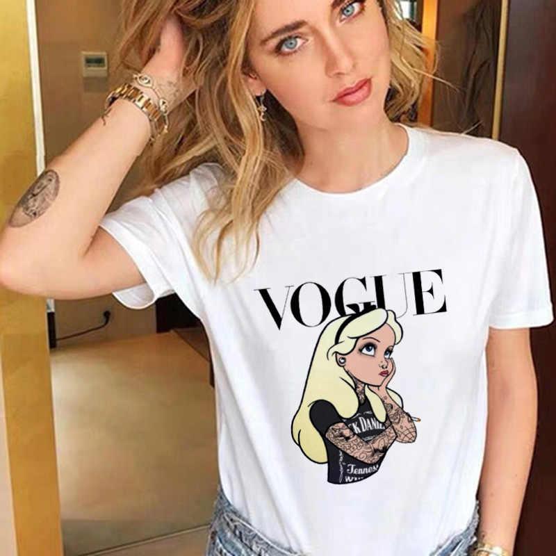 여성 2020 인쇄 얇은 섹션 흰색 Tshirt Femme 재미 있은 공주 보그 하라주쿠 T-셔츠 탑 Kawaii 티 여성 의류 T 셔츠