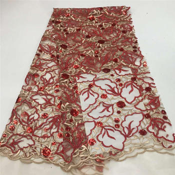 Special Red Sequin Lace Fabric For Wedding Dress High Quality African Tulle Lace Fabric Mesh Fabric With Sequins PL1135