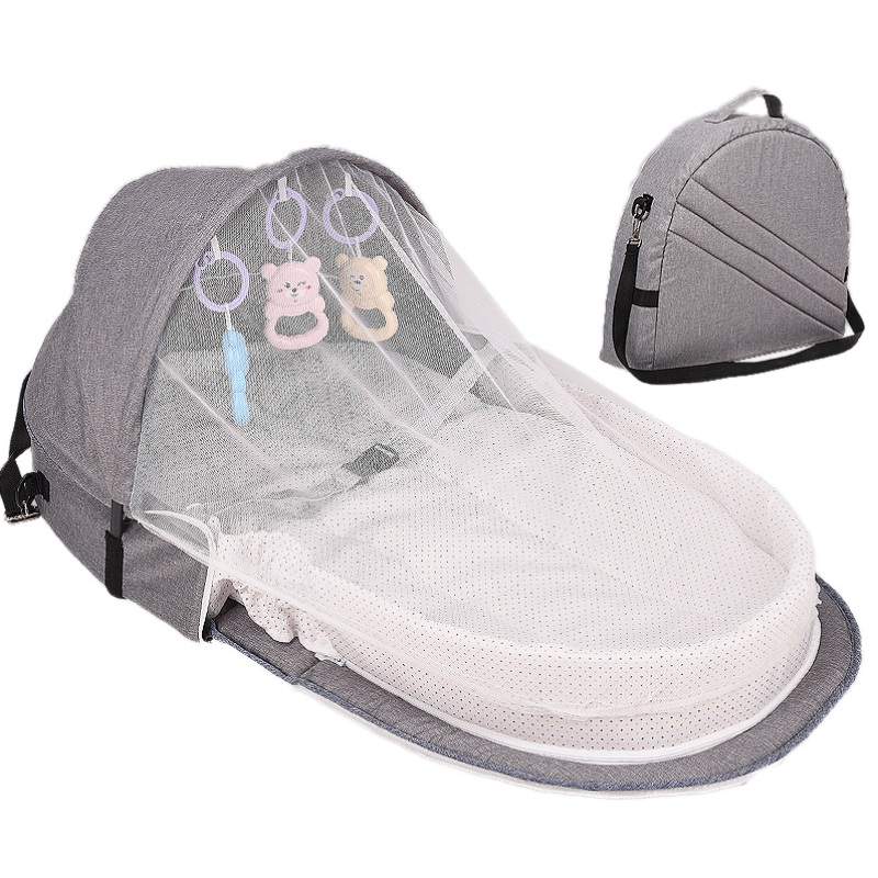 Portable Bassinet With Baby Foldable Baby Bed Infant Sleeping Basket Travel  Sun Protection Mosquito Net Breathable