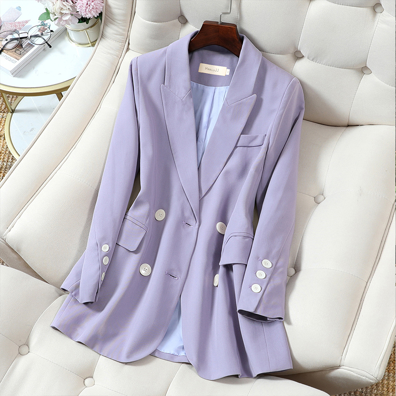 High quality plus size M-5XL Female Blazer 2020 new autumn and winter double-breasted ladies jacket Women's casual small suit