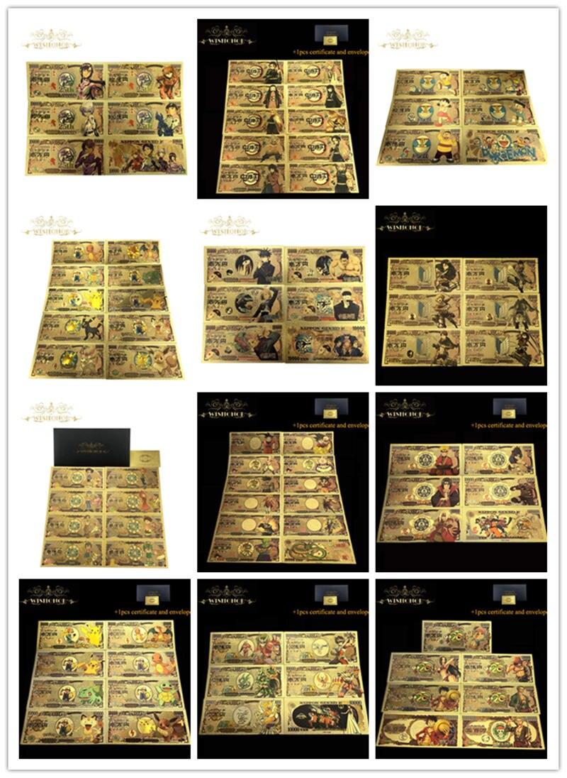 11 шт./компл. хорошая японская Золотая банкнота 10000 иен Дракон банкнота в 24k позолоченные золотые деньги для коллекции