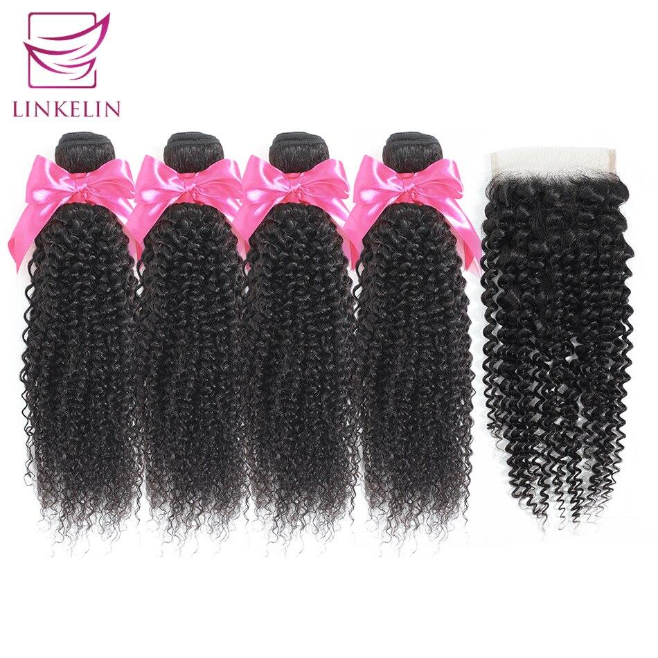 LINKELIN Human Hair Bundles With Closure Brazilian Kinky Curly Hair Bundles With Closure Remy Hair 4 Bundles With Closure