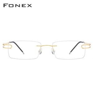 Image 2 - Fonex Titanium Legering Randloze Optische Glazen Frame Mannen Recept Frameloze Brillen Mannelijke Bijziendheid Schroefloos Eyewear 50003