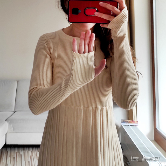 Long Knit Maxi Sweater Dress  A Line Ribbed  Pullover 6