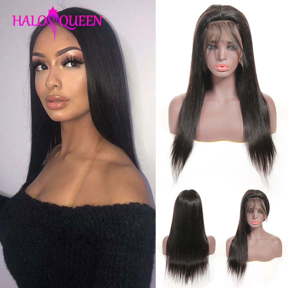 HALOQUEEN Baby Hair Wig 13X4 Lace Closure Wig Human Hair Lace Wig Straight 8- 28 Inch Non Remy Brazilian