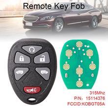 315Mhz 6 Buttons Remote Keyless Entry Key Fob Car KOBGT05A fit for 2005 2006 2007 2008 2009 Chevrolet Uplander