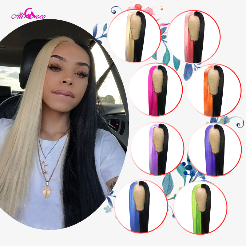 ALI Coco 150% Half Black Half 613 Wigs Brazilian Remy Straight Green Lace Front Wig Pink Red Bule Purple Ombre Wigs For Women