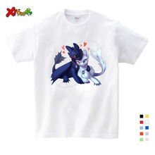 2019 Fashion Toothless T-shirt Summer Hot Sale White Cute Tops Cartoon Tees Red T-Shirt Clothes White T-shirt Kids Funny Tees harajuku fashion graphic tees women colored cactus t shirt slim fit cute girl s tshirts tees