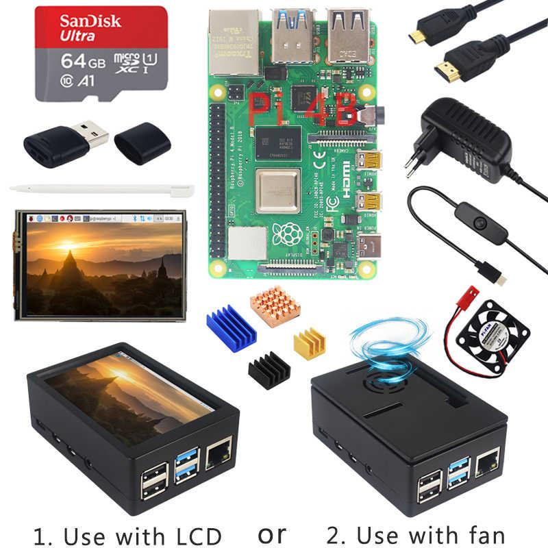 جهاز Raspberry Pi 4 موديل B + حافظة + مصدر طاقة + بطاقة SD سعة 64 جيجابايت + جهاز تبريد اختياري بشاشة 3.5 بوصة تعمل باللمس/مروحة + كابل HDMI لـ RPI 4