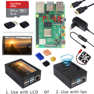 Raspberry Pi 4 Model B + Case + Power Supply + 64GB SD Card+ Heatsink Optional 3.5 inch Touch Screen / Fan+ HDMI Cable for RPI 4