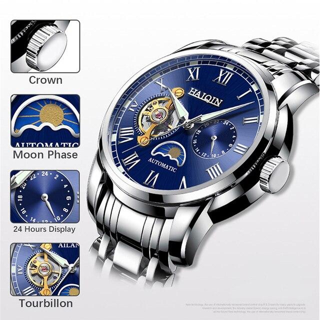 2019 nova marca de luxo relógio de aço masculino relógio de negócios relógio lua reloj hombre 2