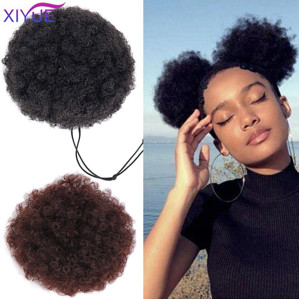 Синтетические накладные волосы на клипсе, афро-кудрявый конский хвост, прическа гулька волосы для наращивания, синтетические пышные волосы...