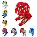 Комплект одежды для маленьких мальчиков, одежда «Супергерои» «Железный человек», «Микки Маус» автомобилями хлопковая детская одежда с дли...