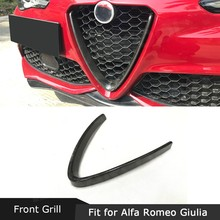 Marco protector de parrilla delantera, fundas borde decoración estilo V para Alfa Romeo Giulia 2016 2017 Stelvio 2018 2017 2018 2019