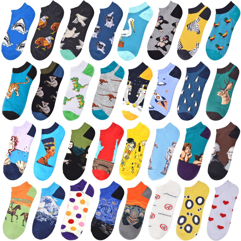 Funny Cartoon Printed Socks Men Fashion 2020 Spring Summer Harajuku Socks Cute Dog Shark Starry Sky Hip Hop Short Novelty Sokken