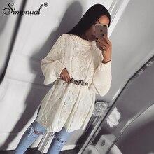 Simenual 2019 Autumn Knitwear Dress Women Long Sleeve Fashion Winter Sweater Dresses Casual Twist Turtleneck Solid Slim