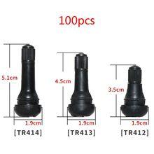 цена 100Pcs TR414/413/412 Snap In Tire Valve Stems Short Black Rubber With Dust Cap онлайн в 2017 году